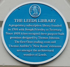 Photo of Library, Leeds, Thomas Johnson, Thomas Ambler, and Joseph Priestley blue plaque