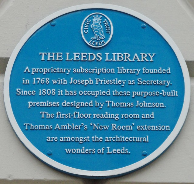 Photo of Thomas Johnson, Thomas Ambler, Joseph Priestley, and Library, Leeds blue plaque