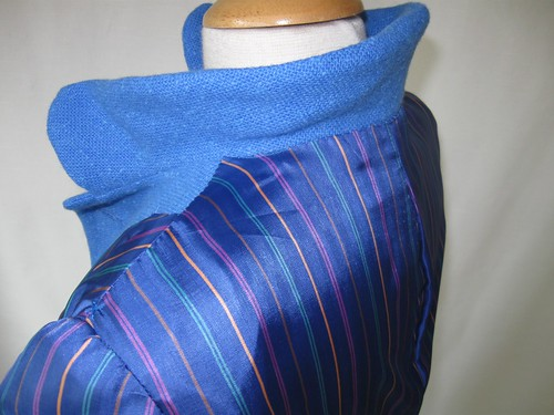 Blue coat lining at collar