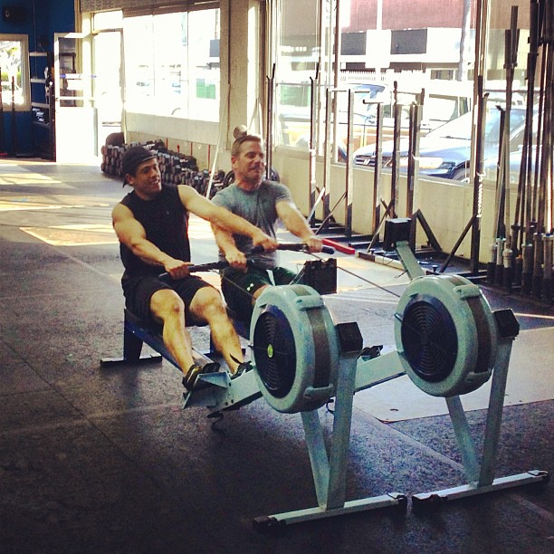 Just a little impromptu partner row warm up. #crossfit #howwedo #teamwork #precious
