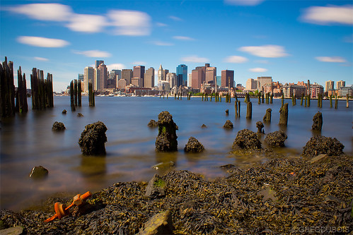 Daytime Long Exposure of Boston Skyline from Carlton's Wharf, East Boston by Greg DuBois Photography