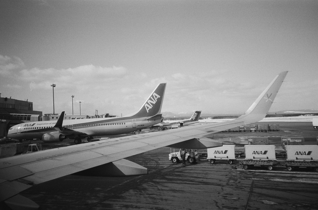 From NRT to CTS, Japan / Kodak TRI-X / Lomo LC-A+ 終於到了新千歲機場,看到 ANA 的飛機有點親切。  有機會也要搭一次 ANA 的飛機看看!  Lomo LC-A+ Kodak TRI-X 400 / 400TX 8561-0033 2016/01/31 Photo by Toomore