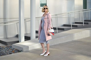 grey-midi-dress-blush-trench-coat | by mamamockingbird77