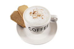 Coffee cup with biscuits