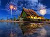 Temple Sirindhorn Wararam Phuproud,artistic, Thailand ,public place,fireworks