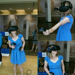 Playing with virtual reality at the mall. Pre honky Tonk.