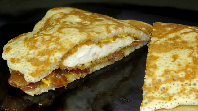 Grilled chicken bacon cheddar pancake sandwich