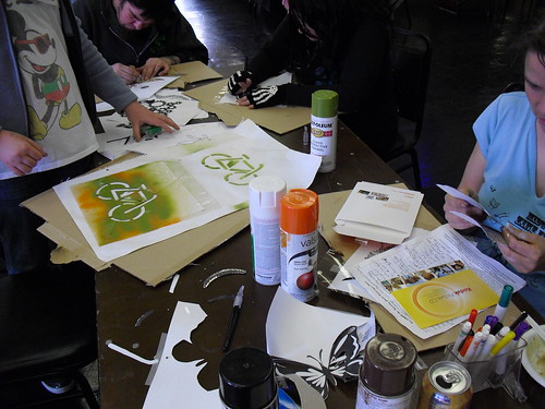 Participants during the stencil workshop at Midwest Zine Fest 2013