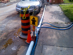 Temporary water service and hydrant