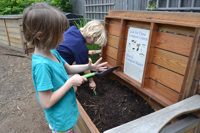 Visitors explore BBG's Home Composting exhibit. Photo by Blanca Begert.