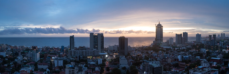 Colombo sunset aerial Pano