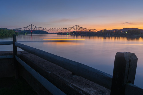 appalachia boat bridge color day fence kanawha light lightstreak longexposure night ohio outdoors park pointpleasant rectangle river silverbridge sky sunset tuendiewei twilight westvirginia
