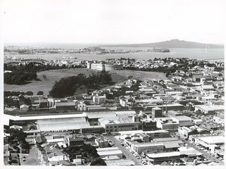Looking across Newmarket, past Museum to Rangitoto Island.