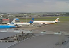 Surinam Airways Airbus A340 PZ-TCR China Southern Airbus A330 B-6516 Amsterdam Schiphol Airport webcam capture