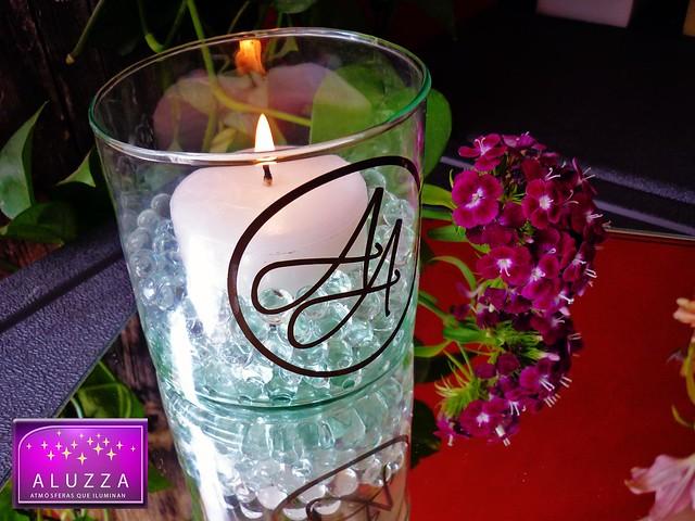 Cilindro de cristal con velas e hidrogel para complemento - Centros de mesa con velas ...