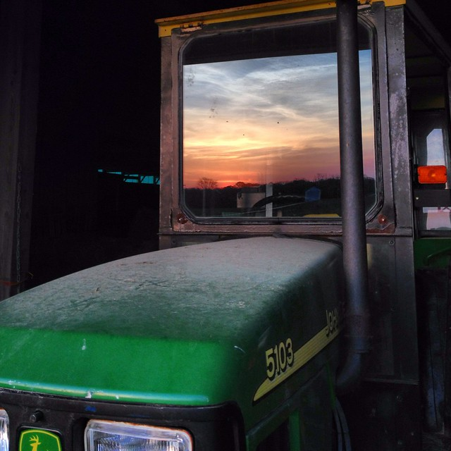 Sunset on the Farm #johndeere #reflection