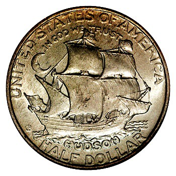 The Halve Maen on commemorative half dollar