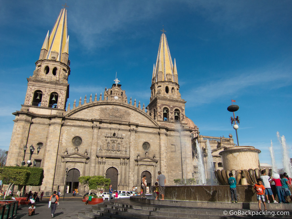 Front facade of Guadalajara Cathedral, which was built in the late 16th century. The area in front of the cathedral is known as Plaza Guadalajara.