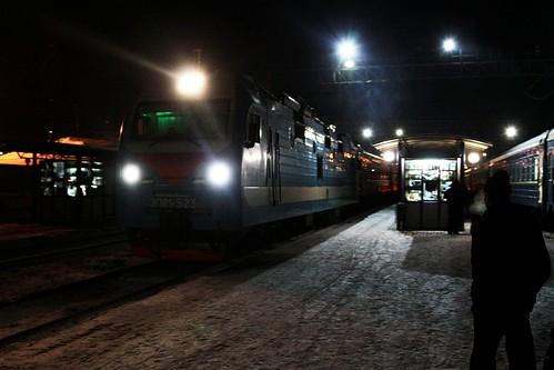 Russian Railways class ЭП1М electric locomotive ЭП1М-523 arrives on a passenger train