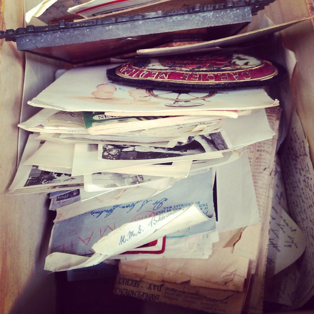 A box of old letters and photos