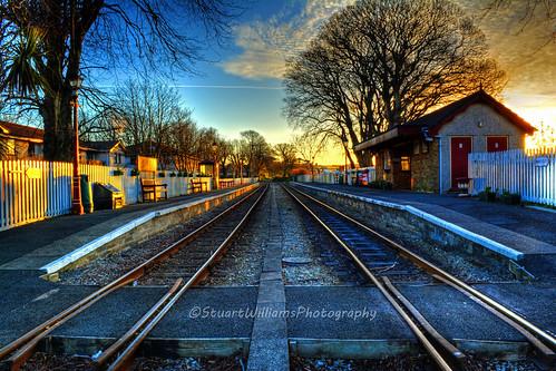 station train sunrise platform steam hdr isleofman ballasalla