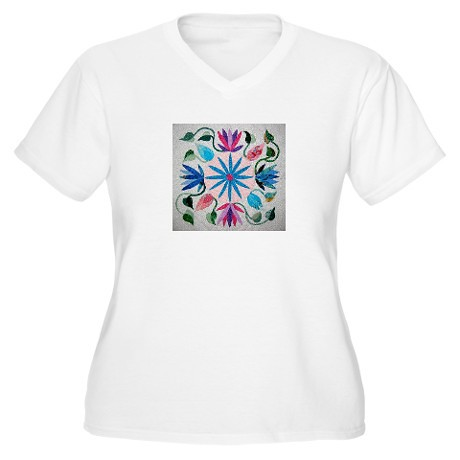 quilt_patch_womens_plus_size_vneck_tshirt