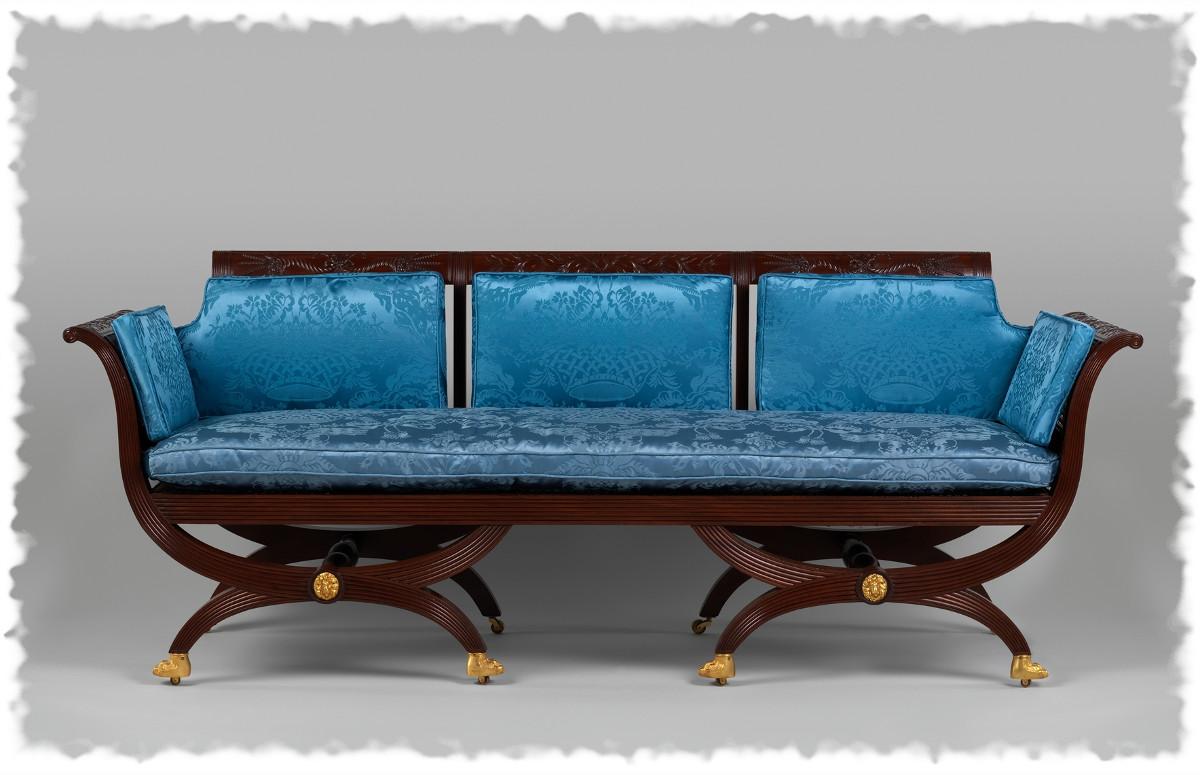 1820 Sofa. American. Mahogany, tulip poplar, cane, gilded brass. metmuseum