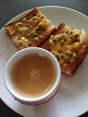 Breakfast: espresso with fresh passionfruit on but…