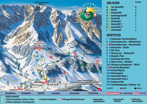 Walchsee - Zahmer Kaiser - mapa sjezdovek