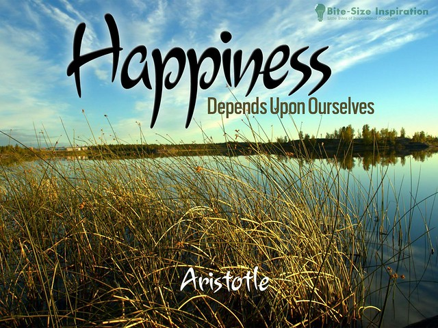 Happiness Depends On Ourselves Aristotle Quote: 130501 Daily Positive Inspirational Quote Image By