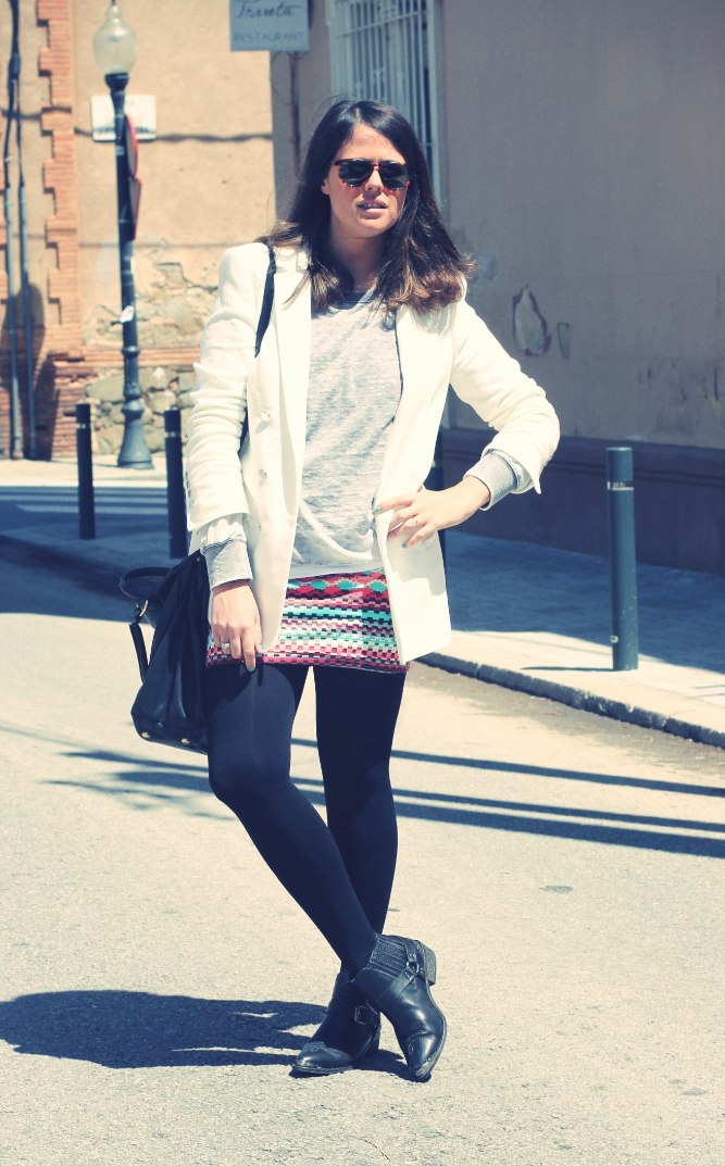 Etnic Skirt + White - Monicositas