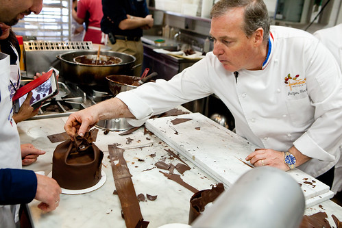 "At Jacques Torres assisting rolling out the chocolate fondant at his ""Cake Decorating and Chocolate Work"" class"