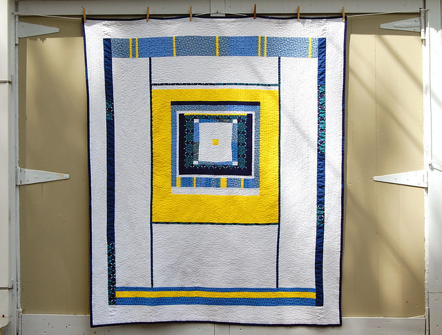 Yellow and Blue Quilt finished