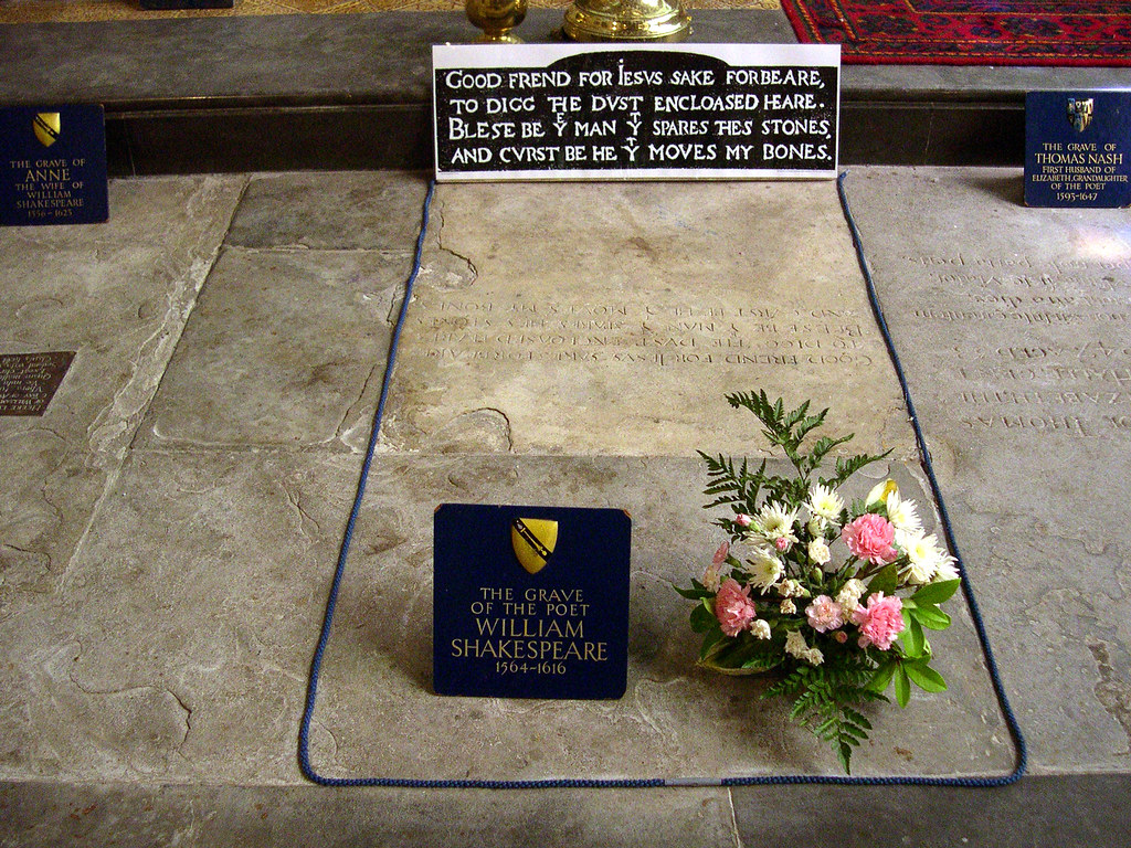 William Shakespeare's grave, Holy Trinity Church, Stratford-on-Avon. Credit David Jones