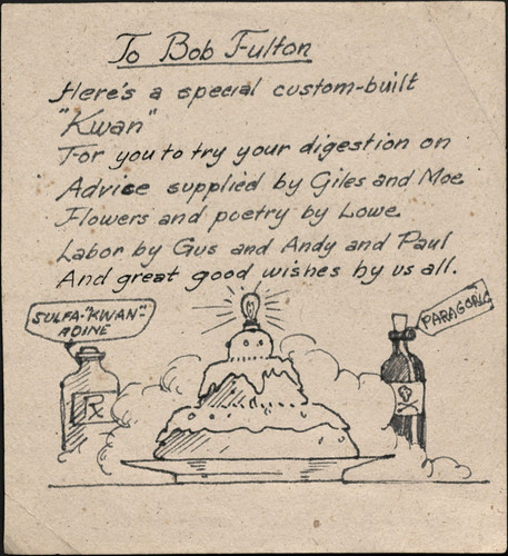 A handmade card from fellow POWs to Lt. Robert B. Fulton, [1942-1945]