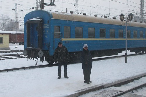 Passengers at Чаплине (Chaplyne) wait for our train to depart