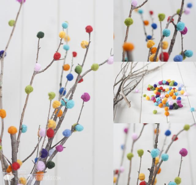 Ramas decoradas con lana fieltrable y mini jard n - Bolas transparentes para decorar ...
