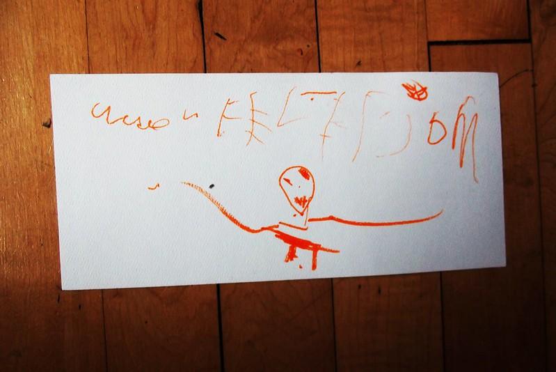 Kid drawing skeleton