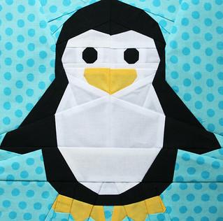 Little Penguin Foundation Pieced Quilt Block