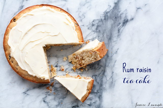 Frosted rum raisin tea cake
