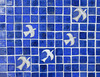 Birds flying on a blue field - ceramic mosaic