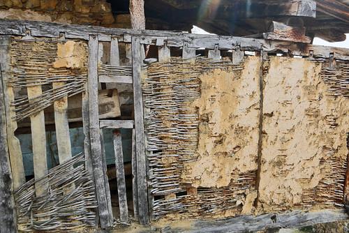 Wood and wattle barn in Brez, a village in the Picos de Europa in Spain