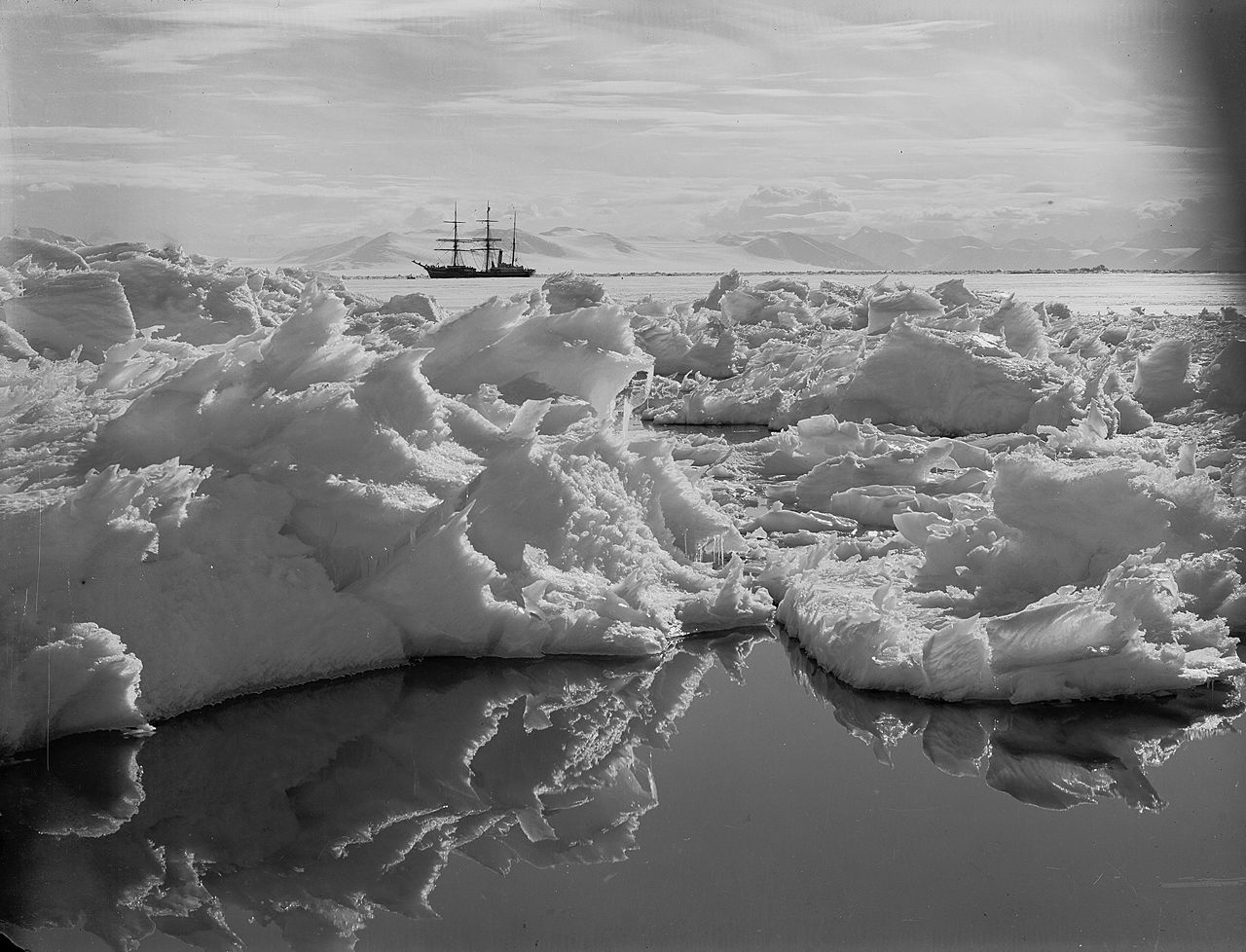 Beautiful broken ice, reflections and Terra Nova. Jan. 7th 1911