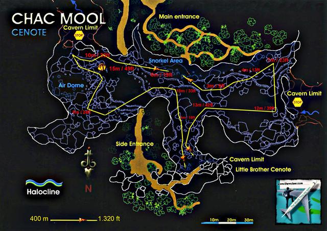 Mapa del sistema completo de grutas de Chac Mool