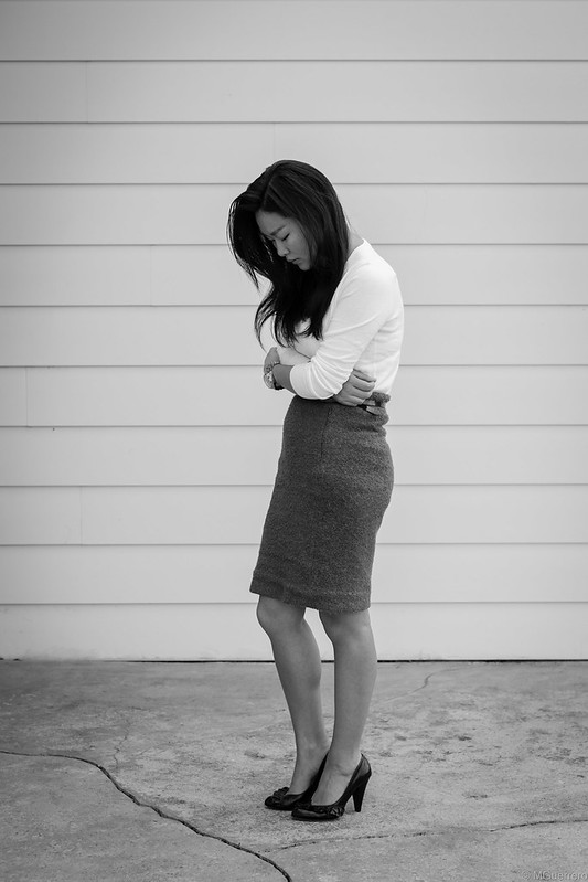 white sweater tweed pencil skirt