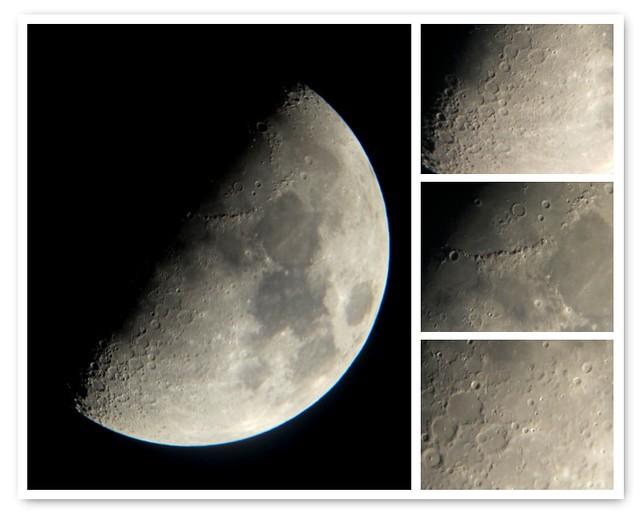La luna en cuarto creciente y su superficie flickr for Cuarto menguante de la luna