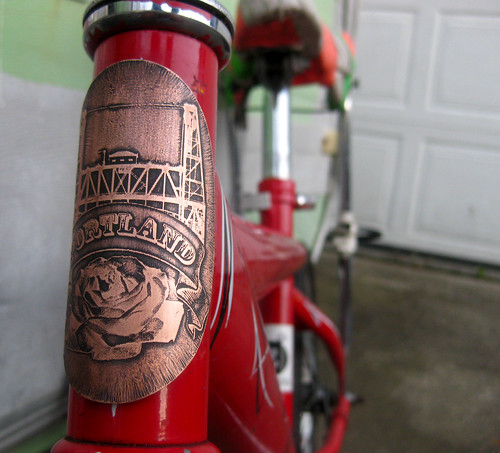 artbywinona posted a photo:Etched, hand-cut copper bicycle head badge.