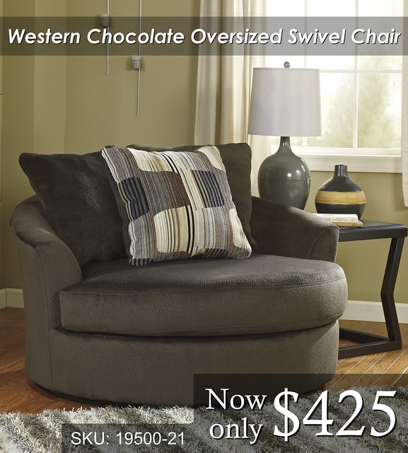 19500-21 Western Chocolate Oversized Swivel Chair $425