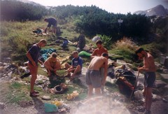 Sorting gear outside the Wiesberghaus Image