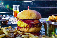Burger w/ Grits, Bacon, Cheddar, and BBQ Sauce - T…